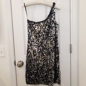Off Shoulder One Strap Sparkly Sequin Dress Silver